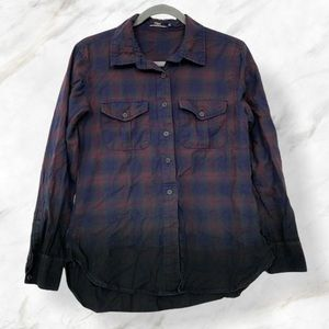 Silver jeans plaid button up small blue purple red